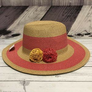 Time Tru Coral Stripe Straw One Size Floppy Hat